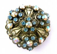 Vintage Enamel And Rhinestone Flower Brooch.